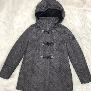 Laundry grey puffer toggle hooded jacket/coat L